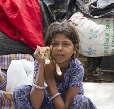 Little Girl and her kitten in Kochi