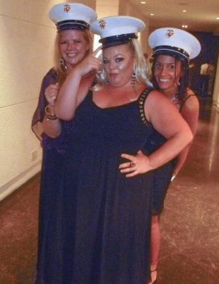 Me, Lynn and Jennifer modelling Marine headgear!