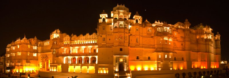 Udaipur Palace at the evening sound and light show