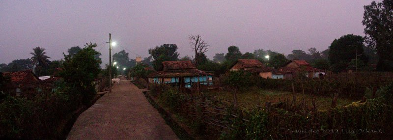 Village before dawn, waiting for our guide to enter the buffer zone.