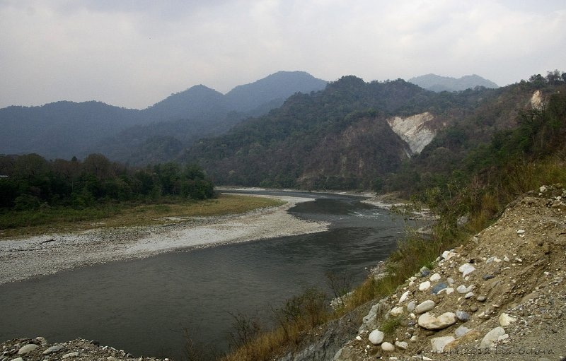 River border between Bhutan and India.