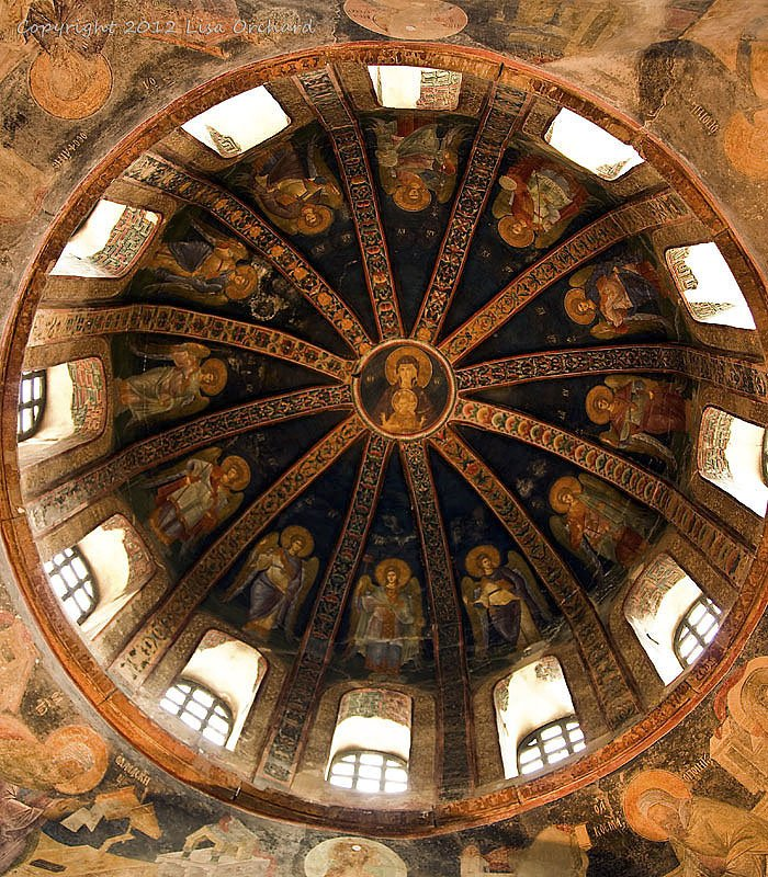 One of the domes in the Chora church