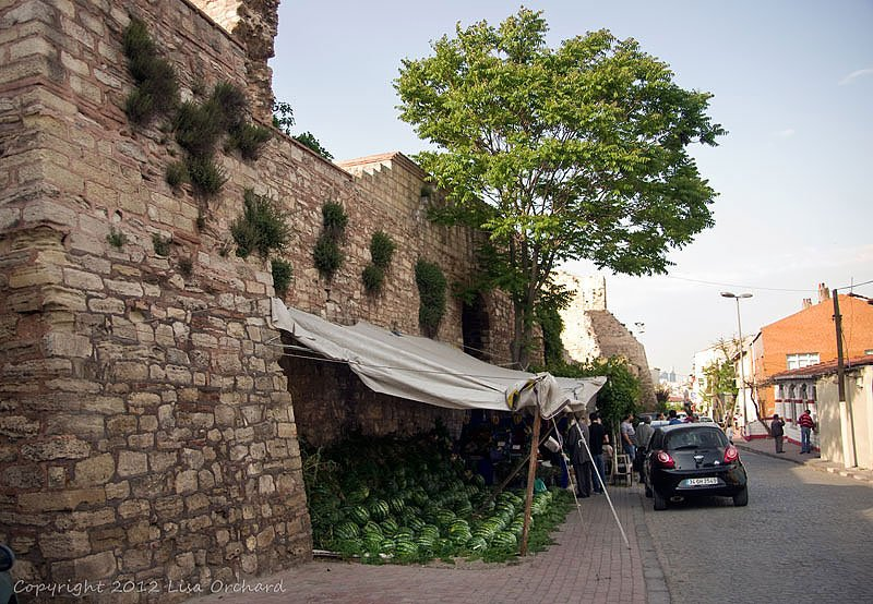 Watermelon season against the old walls of Constantinople