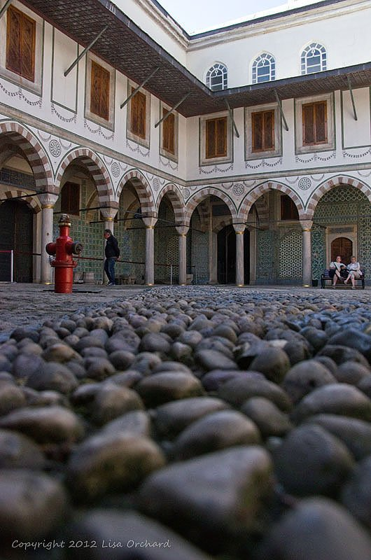 Beautifully cobbled Queen Mother's courtyard at Topkapi Palace