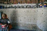 Mirror-work inside a Kutch village hut