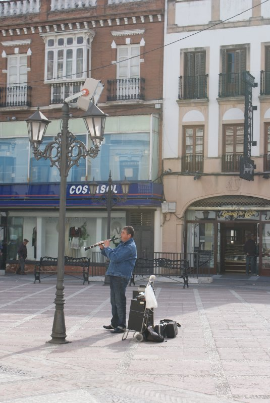 Street musician playing clarinet