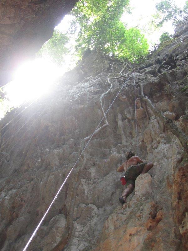 Rick climbing in Vang Vieng!