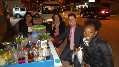 "After the meeting we would stop at ""Starbucks"" and drink street tea in a bag, emolientes.. yum!"