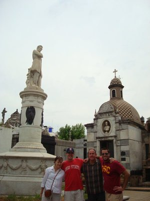 Touring the Recoleta Cemetary...Evita and many other prominent figures are buried here in very ornate mausoleum things.