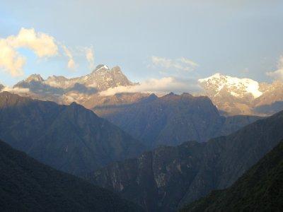 Beautiful glacier peaks in distance