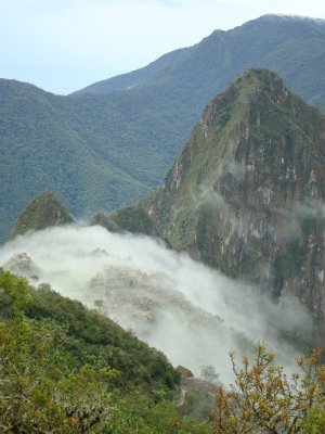 The mist enveloping Machu Picchu as we hiked in from Sun Gate