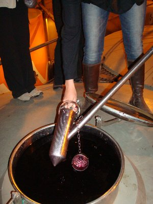 "a pour of ""unfinsished"" wine straight from the tank"