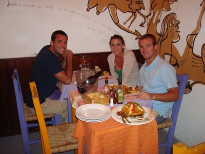 Our delicious dinner at Lo de Charlie