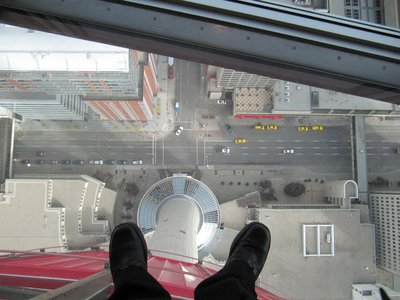 The glass floor of the Calgary Tower