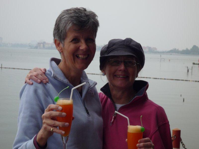 Amanda and Shelley, surprise wedding guests at the Thang Loi