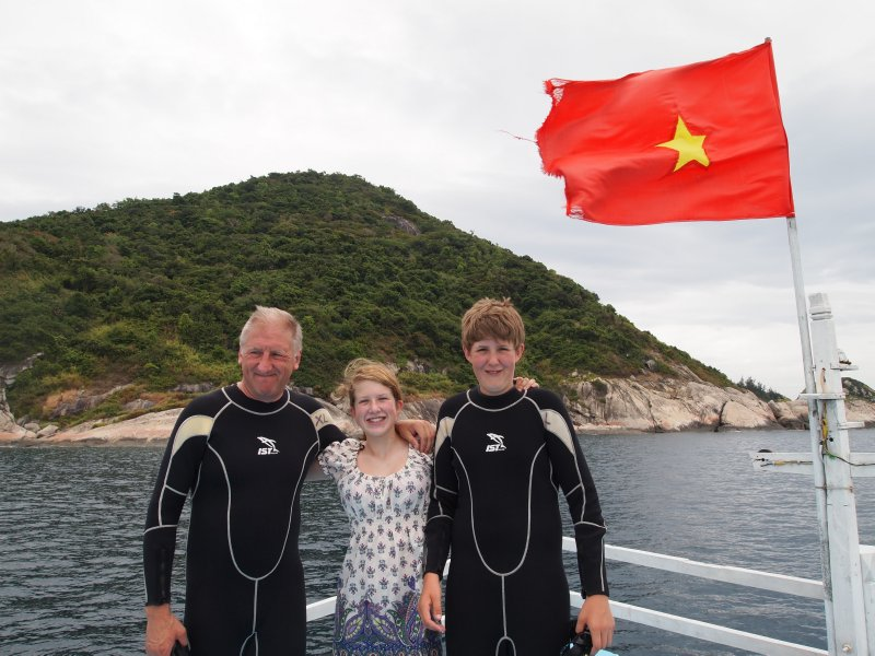 Peter, Daisy and Sam as we leave Hoi An