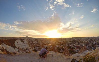 Sunset Point in Cappadocchia - setting up for a shot