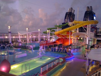 Huge *** deck areas with a spectacular aqua park for the kids