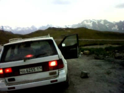 "... in a Ssangyong Musso taxi ... over several high pass ""perevals"""