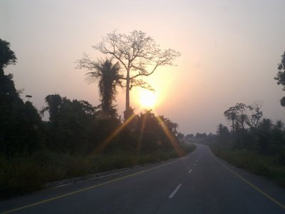 Sunrise driving eastward in Sierra Leone, on perfect tarmac til Kenema