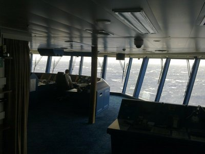 In the Bridge Viewing Lounge during the only day of storm before the Acores.