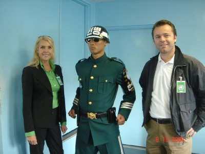 "Looks like the stereotypical North Korean Border Guard, but is actually from the ""occupied"" South."