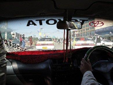 """Mazar - Our """"bullet-riddled"""" taxi back to the Uzbek border"""