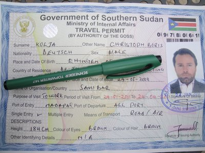 Travel Permit by G.O.S.S. (Government of South Sudan)