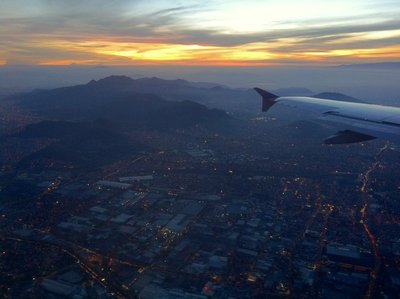 Beautiful sunrise above Mexico City.