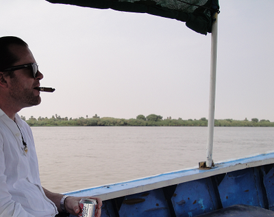 Khartoum lies near the confluence of White Nile and Blue Nile. Here cruising at the 6. Cataract (rapids)