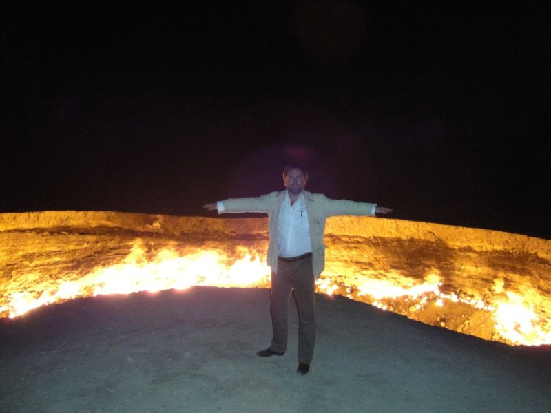 Derveze Gas Crater, Karakum Desert, Turkmenistan, burning since 1971