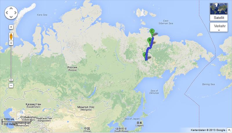 ZIMNIK Ice Roads In Russia Gentleman Adventurer - Lena river on world map