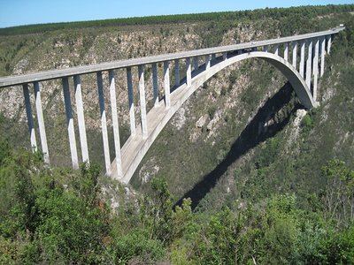 Harald doing the highest Bungee Jump in the World (216m), Garden Route, South Africa