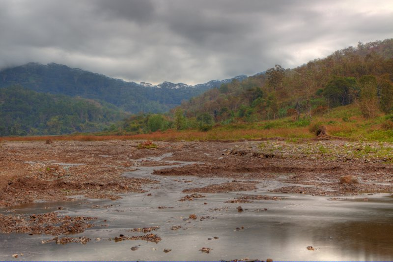 HDR rendition of a drying river bed in timor leste