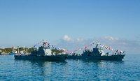 Timorian Navy frigates parade at Timor Leste National Army Day