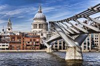 St Paul`s Cathedral and Millennium Bridge
