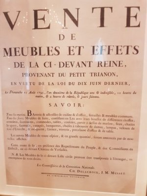Marylebone - Wallace Collection - original poster for sale of Marie-Antoinette's personal items from Le Petit Trianon on 25 August 1793