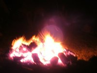 Orbs over the fire on full moon night