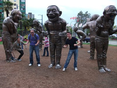 Fooling around with some statues