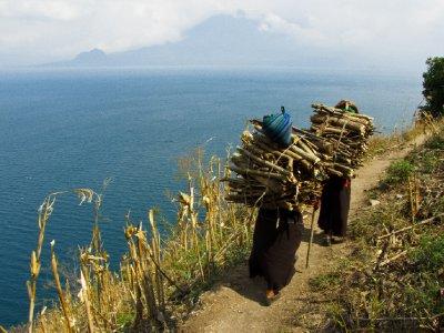 Lago de Atitlan, Guatemala -  Tough Mayan woman carrying wood