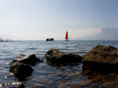 Lago de Atitlan, Guatemala -  Sailing boats on Atilan