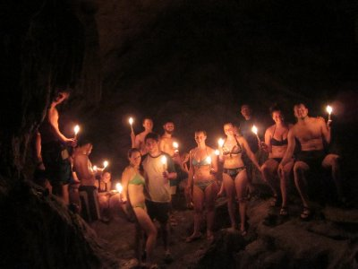 Semuc Champey, Guatemala - Cave exploring by candlelight