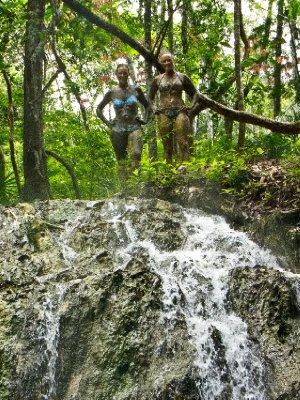 Rio Dulce, Guatemala - Jess and Anna after a thermal mudbath