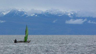 Sailing boat on Lake Titicaca