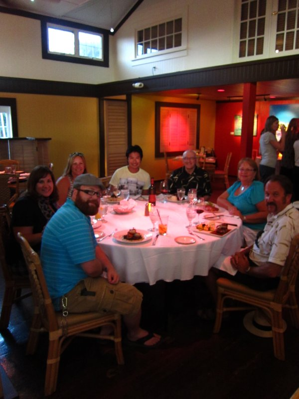 the gang eating dinner in Upcountry Maui