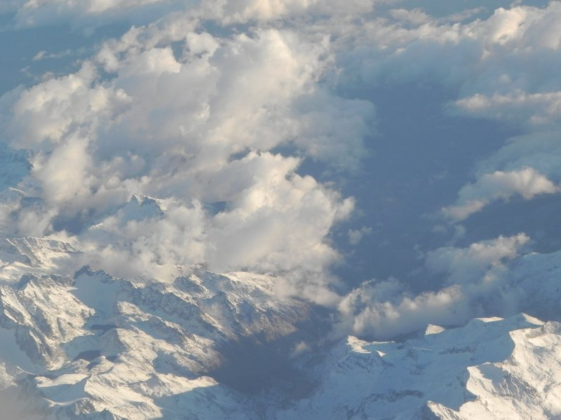 snow-blanketed mountains