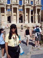 Gerri at the Celcus Library in Turkey