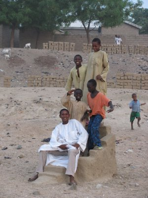 Dry river bed, chair made of sand