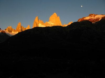 Moon and Fitz Roy Range