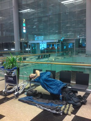 Sleeping at Singapore Airport